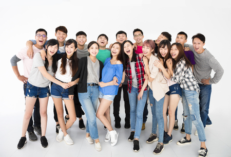 asian youth: happy young student group  standing together