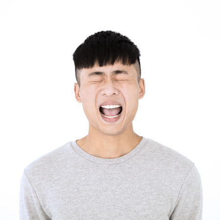 angry asian young casual man portrait