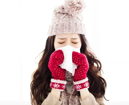 infected: Young Woman Infected With Cold Blowing Her Nose