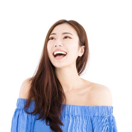 행복 한 아시아 젊은 여자 얼굴 초상화