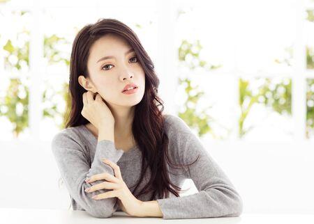 skin care woman: closeup  young asian woman face