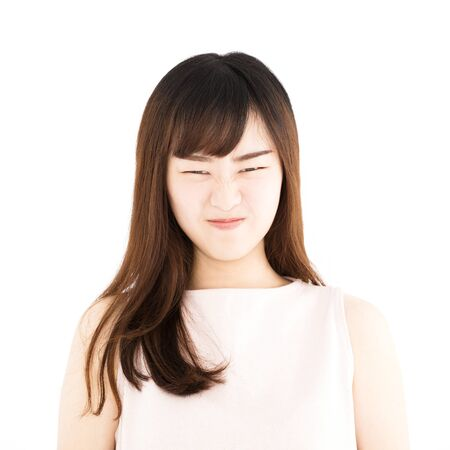 angry asian young casual woman portrait