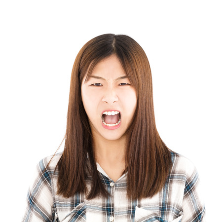 yell: angry asian young casual woman portrait  Stock Photo
