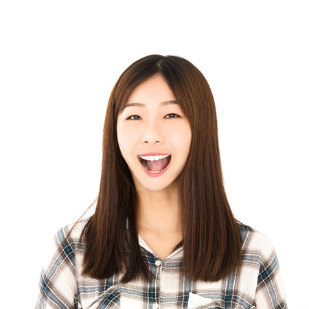 people laughing: happy asian young woman face portrait