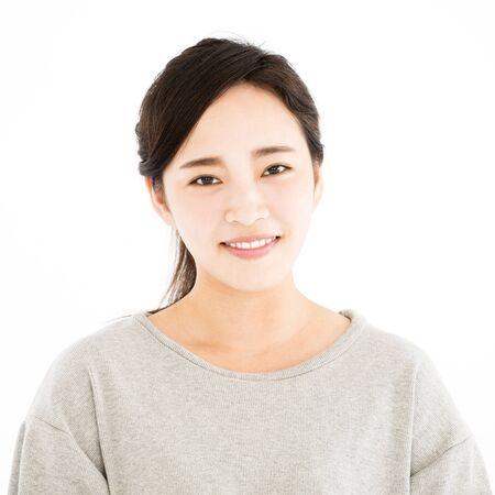 closeup asian young woman face portrait