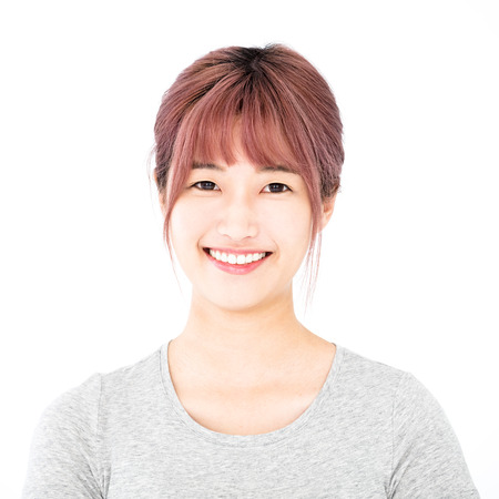 young woman face: happy asian young woman face portrait