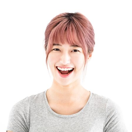 reir: feliz mujer asiática joven retrato de la cara