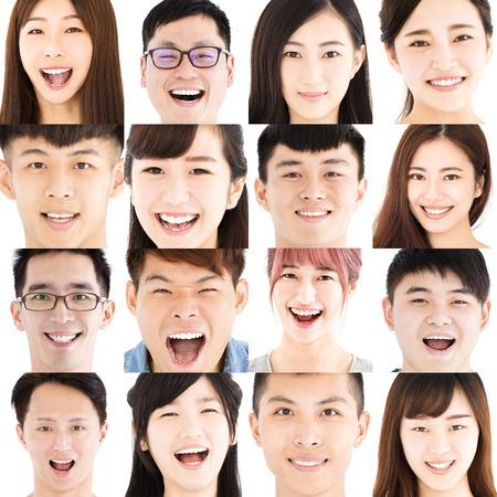 웃는 아시아 젊은 사람들의 구성