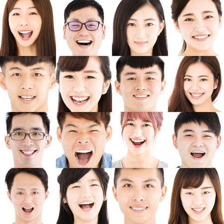 Composition of smiling asian young people