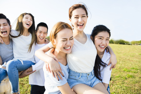 happy young  group having fun together Stock Photo