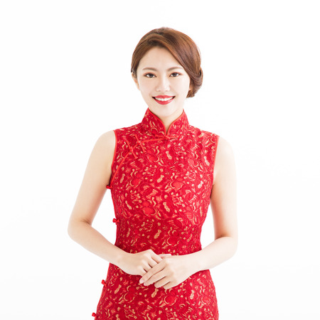 happy chinese new year, beautiful smiling young woman  Stock Photo