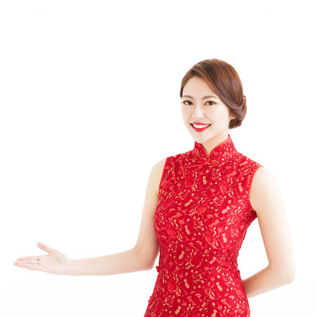 happy chinese new year, woman with  showing gesture