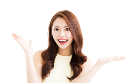 young smiling  woman with showing gesture Stock Photo