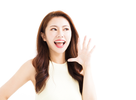 closeup Beautiful young asian woman shouting Stock Photo