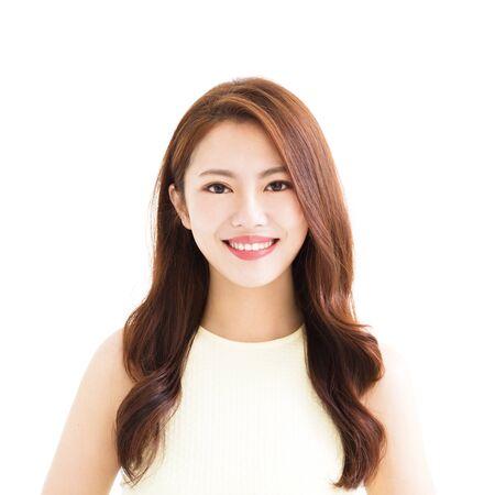 1 person: closeup young smiling asian woman Stock Photo