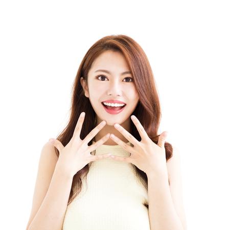 młoda kobieta Azji z zaskoczony gest Zdjęcie Seryjne