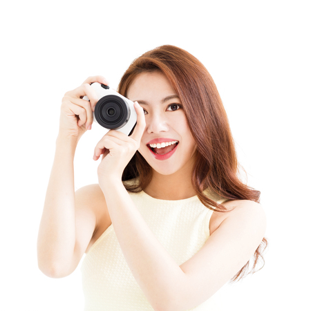 happy young  woman with camera Stock Photo