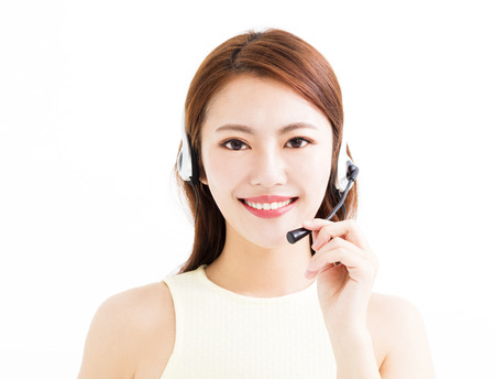 happy  young business woman wearing headset Stock Photo