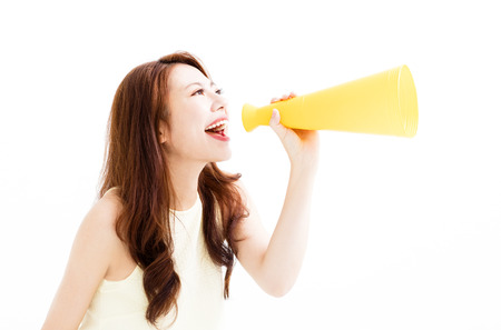 young Woman making announcement with megaphone