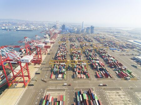 large: KAOHSIUNG, TAIWAN-FEB 14:Stacks of containers  Terminal on Feb 14, 2017 in Kaohsiung.