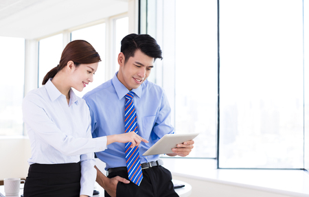 working on computer: Business people meeting in office and discuss project Stock Photo