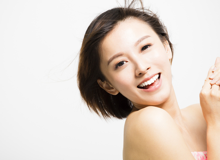 smiling  young Woman with hair motion