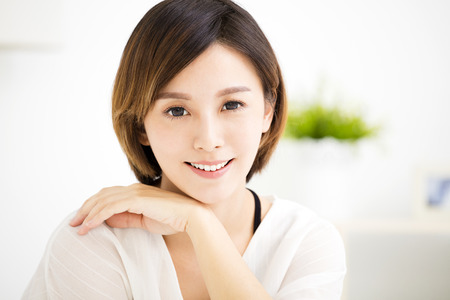 lifestyle looking lovely: Closeup smiling young asian woman face Stock Photo