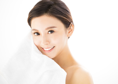 Closeup  young woman face with  health skin 版權商用圖片