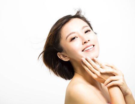 young asian: smiling  young Woman with hair motion