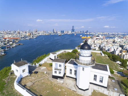 industry: Aerial view of the city in Taiwan - Kaohsiung harbor  and lighthouse