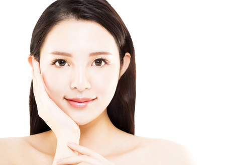 closeup young asian beauty face isolated on white photo