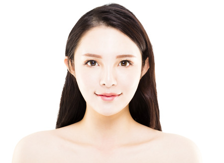 fashion: closeup young asian beauty face isolated on white