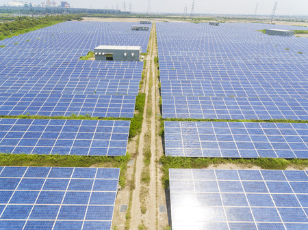 Aerial View of Solar Panel Farm, Taiwan. Stock Photo