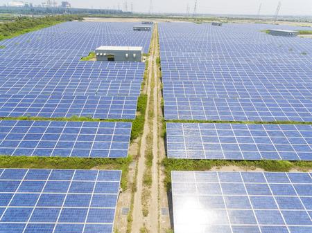 Aerial View of Solar Panel Farm, Taiwan. Banco de Imagens