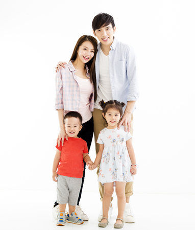 portrait of asian family isolated on white  Stock Photo