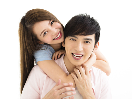 lifestyle looking lovely: Portrait of  smiling asian young couple