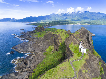 aerial view of Sansiantai in Taitung. Taiwan Stock Photo