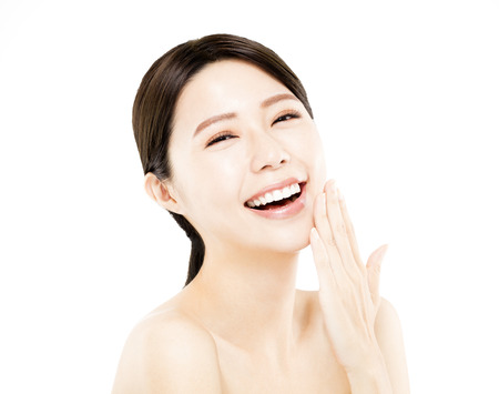 healthy body: closeup happy young Woman beauty face