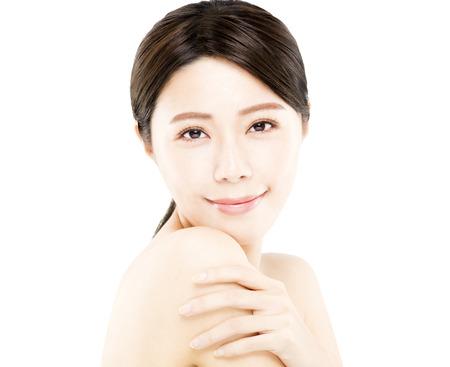 close up: closeup happy young Woman beauty face