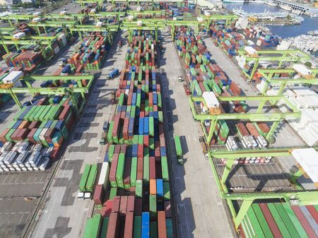 storage: KAOHSIUNG, TAIWAN-July 10:Stacks of containers  Terminal on july 10, 2017 in Kaohsiung harbor.