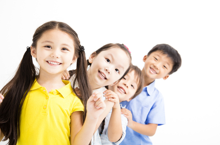 happy and laughing small kids on  white background 스톡 콘텐츠