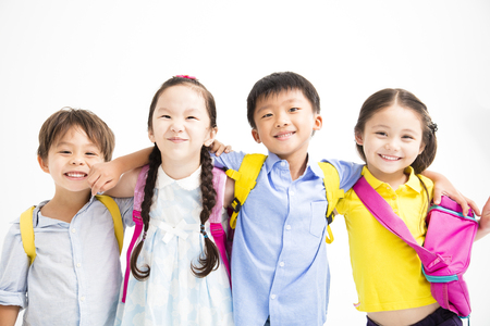 Group of happy smiling kids standing together  版權商用圖片