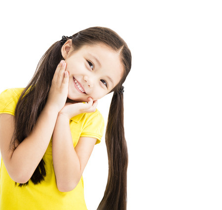 Sweet and smiling little girl isolated on white