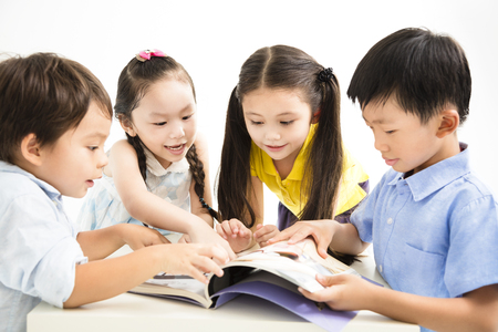 group of school kids studying together Stock fotó - 82330622