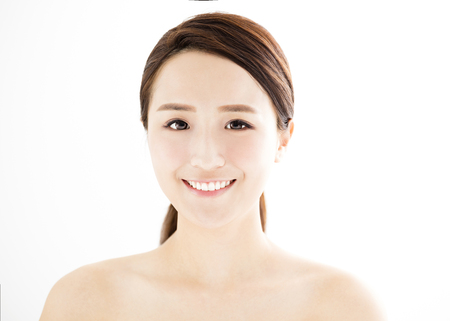 healthy body: closeup beautiful young woman with clean face