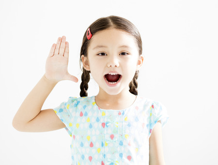 �happy little girl with hands up� Stock Photo