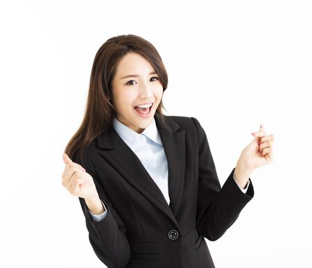 happy businesswoman with counting gesture photo