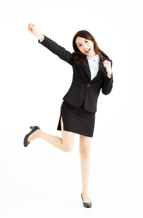 young business woman Celebrating and dancing