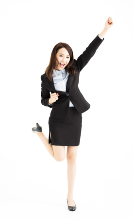 young businesswoman Celebrating and dancing