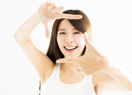 young woman hands making frame gesture  Stock Photo
